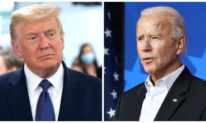 (Left) President Donald Trump visits his campaign headquarters in Arlington, Va., on Nov. 3, 2020. (Saul Loeb/AFP via Getty Images); (Right) Democratic presidential candidate former Vice President Joe Biden  speaks in Wilmington, Del., on Nov. 5, 2020. (Carolyn Kaster/AP Photo)