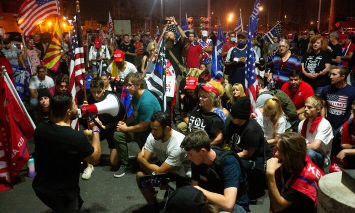 Supporters of President Donald Trump gather to protest election results at the Maricopa County Elections Department office in Phoenix, Ariz., on Nov. 6, 2020. (Courtney Pedroza/Getty Images)