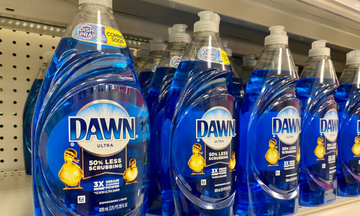 Dawn dish soap is part of a recipe for homemade liquid laundry detergent. (ZikG/Shutterstock)