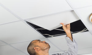 Cover and Hide Ceiling Damage With a Dropped Ceiling