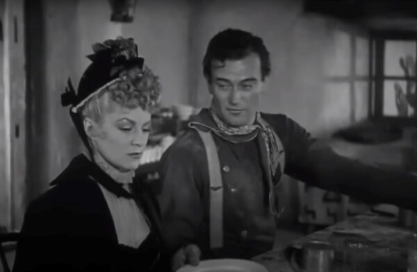 Claire Trevor and John Wayne in Stagecoach