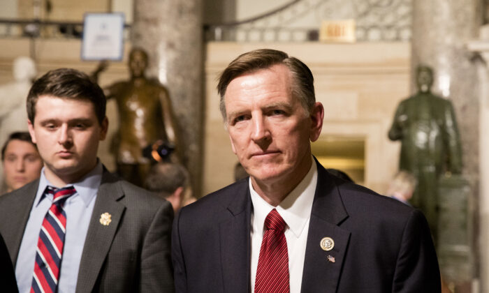 Rep. Paul Gosar (R-Ariz.) in the Statuary Hall of the Capitol building on the way to attending the State of the Union in Washington on Jan. 30, 2018. (Samira Bouaou/The Epoch Times)