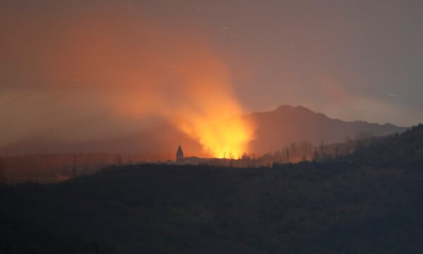 Bursts of explosions, smoke and flame are seen during fighting between Armenian and Azerbaijan's forces near the Holy Savior Cathedral in Shushi, outside Stepanakert, the separatist region of Nagorno-Karabakh