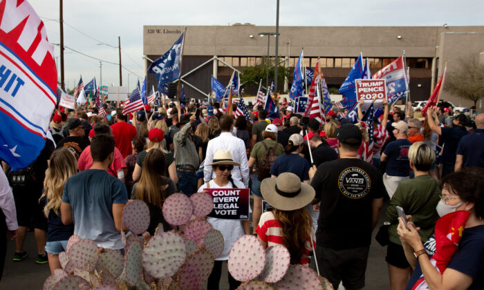 Supporters of President Donald Trump gather at the Maricopa County Elections Department office in Phoenix, Arizona, on Nov. 6, 2020. (Courtney Pedroza/Getty Images)