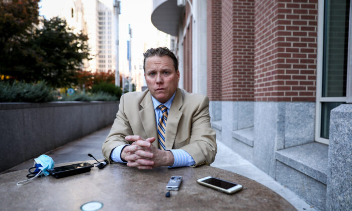 Brian McCafferty outside the Pennsylvania Convention Center in Philadelphia, Pa., on Nov. 7, 2020. (Charlotte Cuthbertson/The Epoch Times)