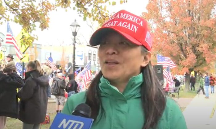 Hong Xiao at a Stop the Steal rally in Carson City, Nevada on Nov. 7, 2020. (NTD Television)