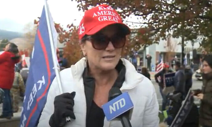 Leslie Moon at a Stop the Steal rally in Carson City, Nevada on Nov. 7, 2020. (NTD Television)