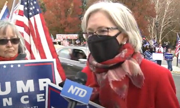 Liz Skogerson at a Stop the Steal rally in Carson City, Nevada on Nov. 7, 2020. (NTD Television)