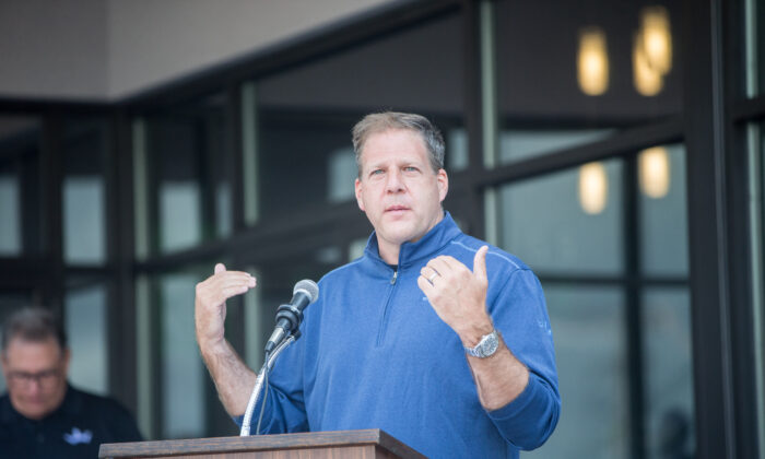New Hampshire Gov. Christopher Sununu delivers remarks during the ribbon cutting ceremony for the grand opening of DraftKings Sportsbook Manchester in Manchester, N.H., on Sept. 2, 2020.  (Scott Eisen/Getty Images for DraftKings)