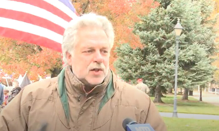 Dan Golden Nevada joined a Stop the Steal rally in Carson City on Nov. 7, 2020. (NTD Television)