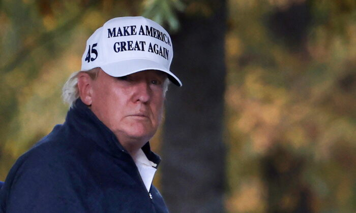 President Donald Trump returns to the White House after playing a round of golf, in Washington on Nov. 7, 2020. (Carlos Barria/Reuters)