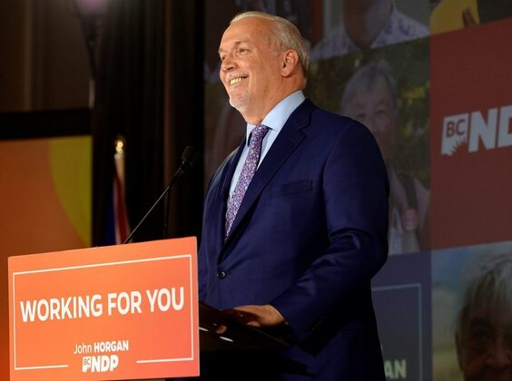 B.C. NDP leader John Horgan speaks at the party's provincial election night headquarters following a majority government win in Vancouver, British Columbia, October 24, 2020. (Reuters/Jennifer Gauthier)