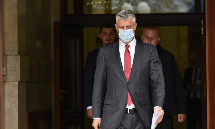 Kosovo's President Hashim Thaci arrives for a news conference as he resigns to face war crimes charges at a special court based in the Hague, in Pristina, Kosovo, on Nov. 5, 2020. (Laura Hasani/Reuters)