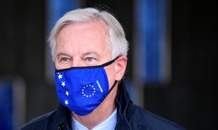 European Union's chief Brexit negotiator Michel Barnier arrives for a meeting in London, on Nov. 9, 2020. (Reuters/Toby Melville)