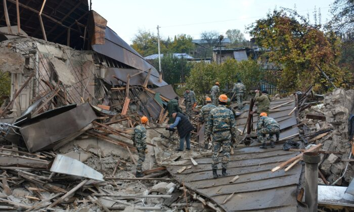 A view shows what is said to be the aftermath of recent shelling in the city of Stepanakert during a military conflict over the breakaway region of Nagorno-Karabakh, in this handout photo released on Nov. 6, 2020. (Armenian Unified Infocentre/Handout via Reuters)