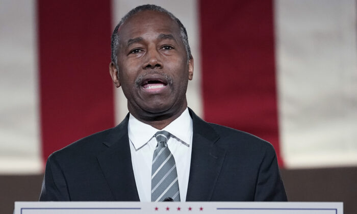 U.S. Housing and Urban Development Secretary Ben Carson addresses the virtual Republican National Convention at the Andrew W. Mellon Auditorium in Washington, on Aug. 27, 2020. (Drew Angerer/Getty Images)