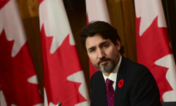 Prime Minister Justin Trudeau speaks during a press conference in Ottawa on Nov. 9, 2020. (The Canadian Press/Sean Kilpatrick)