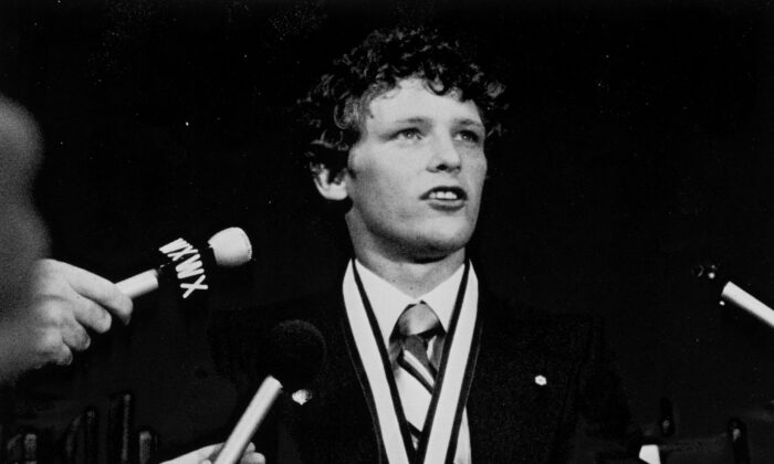 Marathon of Hope runner Terry Fox receives the Order of Canada in Port Coquitlam, B.C., on Sept. 19, 1980. (The Canadian Press/UPC)