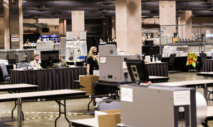 The ballot counting room inside the Pennsylvania Convention Center in Philadelphia, Pa., on Nov. 6, 2020. (Charlotte Cuthbertson/The Epoch Times)