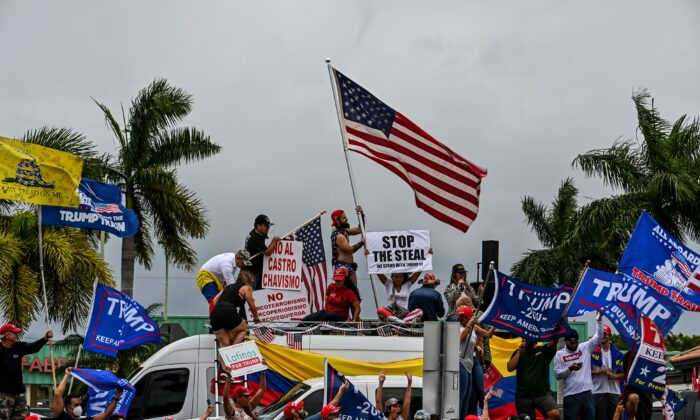 Supporters of President Donald Trump protest in Miami on Nov. 7, 2020. (Chandan Khanna/AFP via Getty Images)