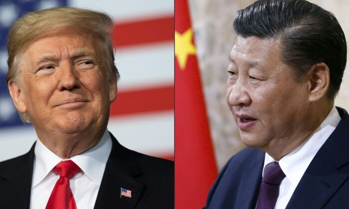 This combination of pictures created on May 14, 2020 shows recent portraits of U.S. President Donald Trump and China's leader Xi Jinping. (JIM WATSON,PETER KLAUNZER/POOL/AFP via Getty Images)