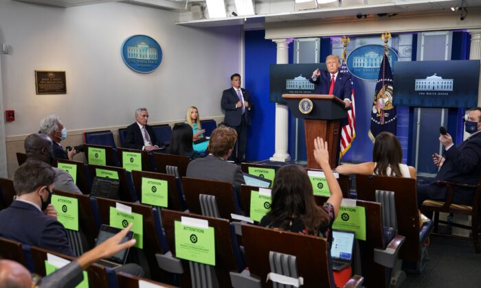 President Donald Trump speaks during a press conference in the Brady Briefing Room of the White House in Washington on Sept. 16, 2020. (Mandel Ngan/AFP via Getty Images)