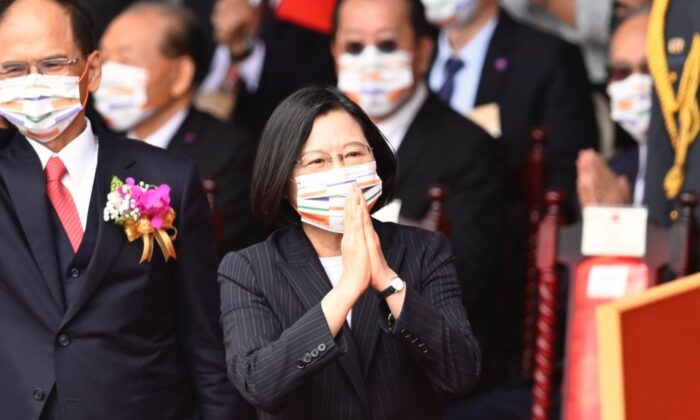 Taiwan President Tsai Ing-wen (C) gestures during the National Day celebration in front of the Presidential Office in Taipei on October 10, 2020. (Sam Yeh/AFP via Getty Images)