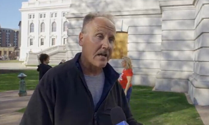 Bob Magruder attended a Stop the Steal rally in Madison, Wisconsin on Nov. 7, 2020. (NTD Television)