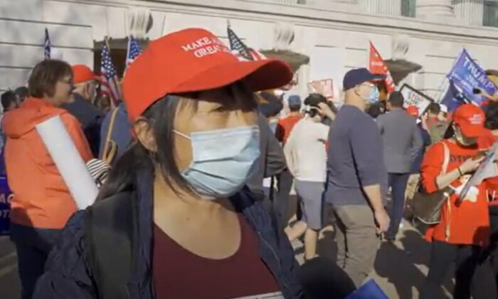Grace Jie attended a Stop the Steal rally in Madison, Wisconsin on Nov. 7, 2020. (NTD Television)