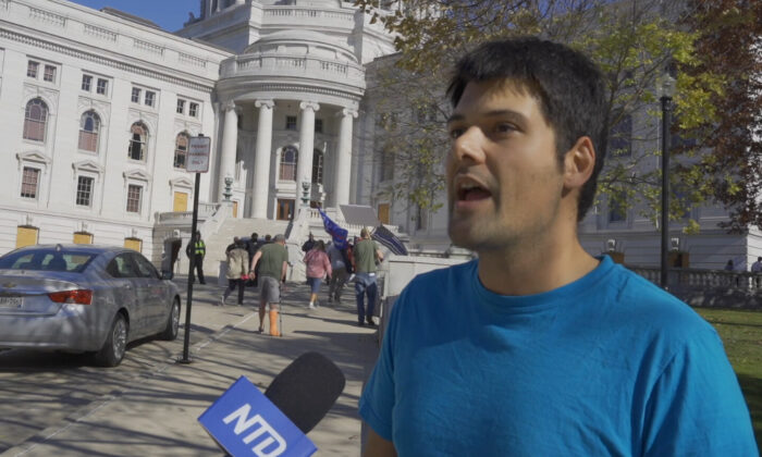 Michael Turek attended a Stop the Steal rally in Madison, Wisconsin on Nov. 7, 2020. (NTD Television)