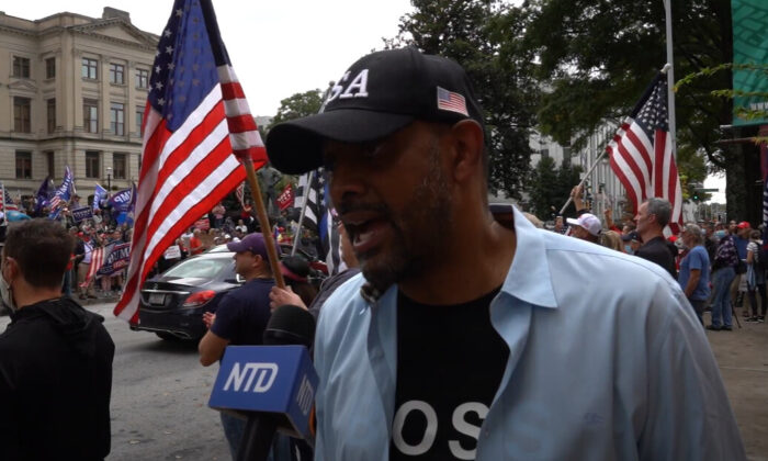 Vernon Jones attended a Stop the Steal rally in Atlanta, Georgia on Nov. 7, 2020. (NTD Television)