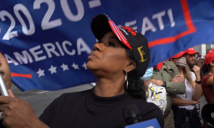 Mykel Barthelemy attended a Stop the Steal rally in Atlanta, Georgia on Nov. 7, 2020. (NTD Television)