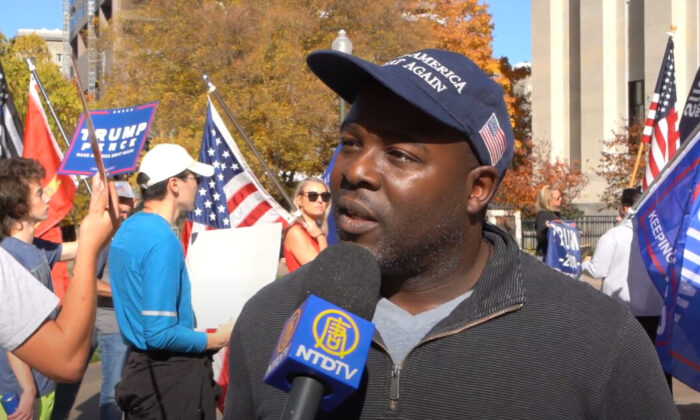 Business owner Tyron Jacksonattended a Stop the Steal rally in Columbus, Ohio on Nov. 7, 2020. (NTD Television)