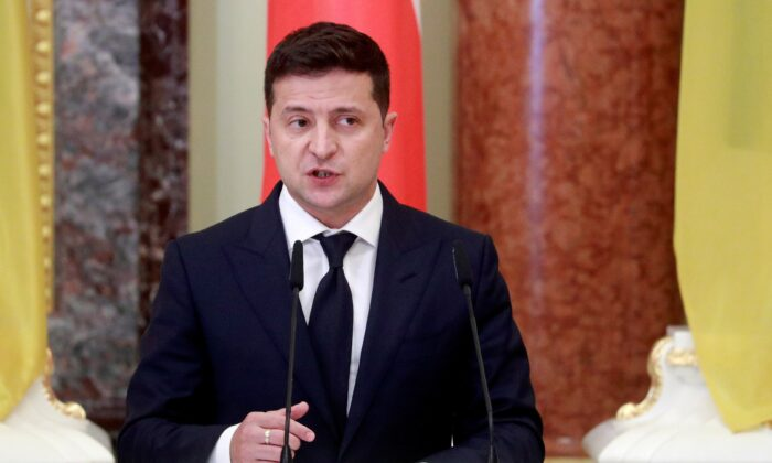 Ukrainian President Volodymyr Zelenskiy speaks during a joint news briefing with Polish President Andrzej Duda (not pictured) as they meet in Kiev, Ukraine, on Oct. 12, 2020. (Valentyn Ogirenko/Reuters/Pool/File Photo)