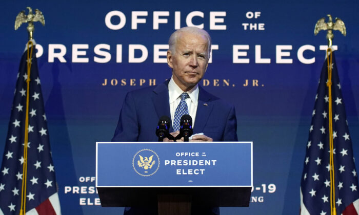 Democratic presidential nominee Joe Biden speaks at The Queen Theatre in Wilmington, Del., on Nov. 9, 2020. (Carolyn Kaster/AP Photo)