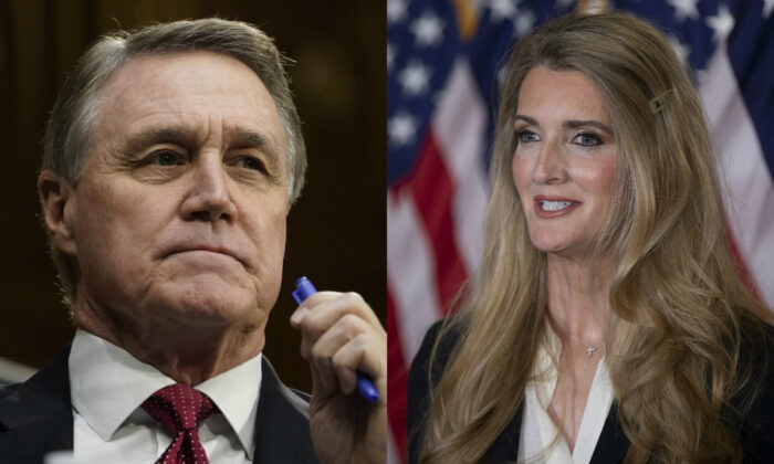 Sens. David Perdue (R-Ga.) and Kelly Loeffler (R-Ga.) in file photographs. (Getty Images)