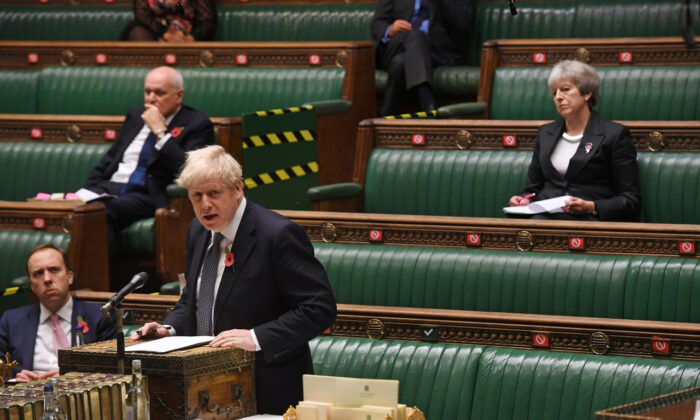 File photo shows Britain's Prime Minister Boris Johnson speaking during the public health debate centred around the CCP virus outbreak, at the House of Commons in London on Nov. 4, 2020. (UK Parliament/Jessica Taylor/Handout via Reuters)
