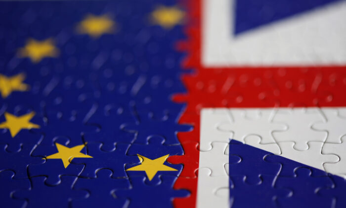 File photo shows a puzzle with printed EU and UK flags in this illustration taken on Nov. 13, 2019. (Dado Ruvic/Reuters/Illustration)
