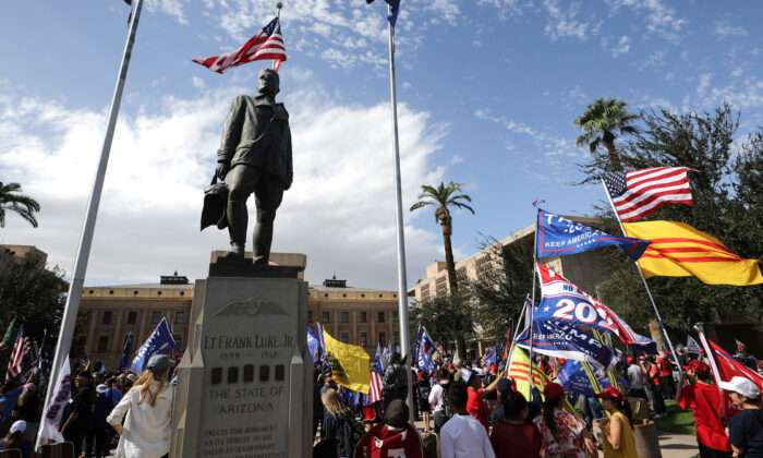Supporters of President Donald Trump demonstrate at a 'Stop the Steal' rally in front of the State Capitol in Phoenix, Ariz., on Nov. 7, 2020. (Mario Tama/Getty Images)