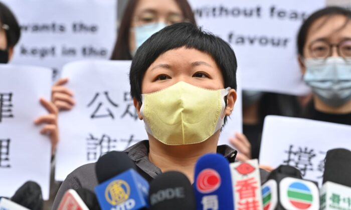 Choy Yuk-ling, also known as Bao Choy, speaks to local media prior to her court hearing in Hong Kong on Nov. 10, 2020. (Song Bilung/The Epoch Times)