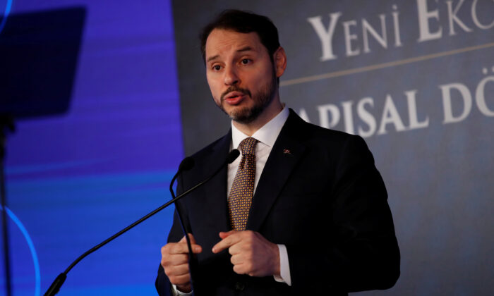 Turkish Treasury and Finance Minister Berat Albayrak attends a news conference in Istanbul, Turkey, on April 10, 2019. (Umit Bektas/Reuters)