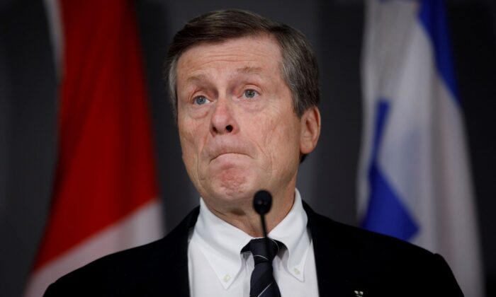 Toronto Mayor John Tory speaks during a press conference in Toronto on Feb. 29, 2020.  (The Canadian Press/Cole Burston)