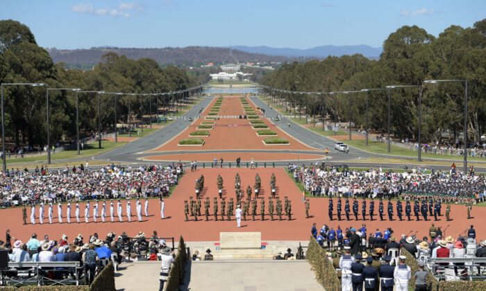The view to Parliament House along ANZAC Parade during the Remembrance Day Service at the Australian War Memorial on November 11, 2018 in Canberra, Australia.  (Tracey Nearmy/Getty Images)