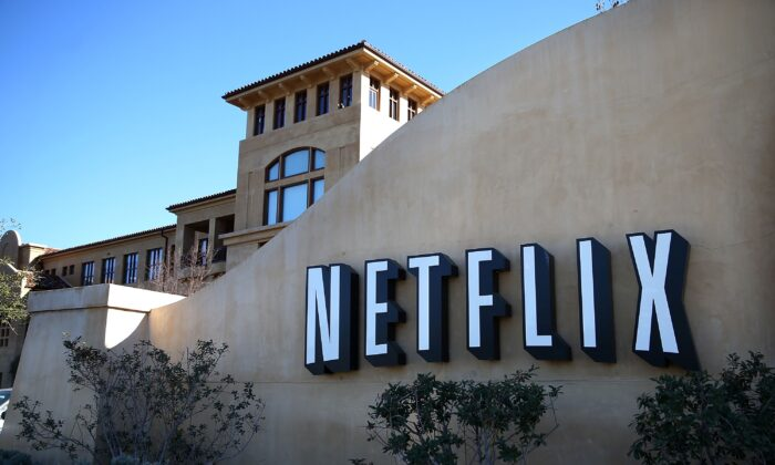 The Netflix sign is seen at the company's headquarters in Los Gatos, California, in a file photo. (Justin Sullivan/Getty Images)
