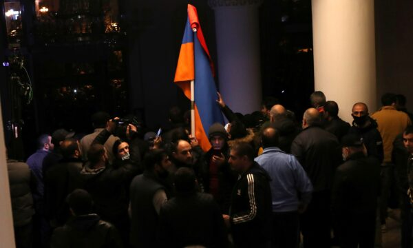 People gather at the government house of Armenia