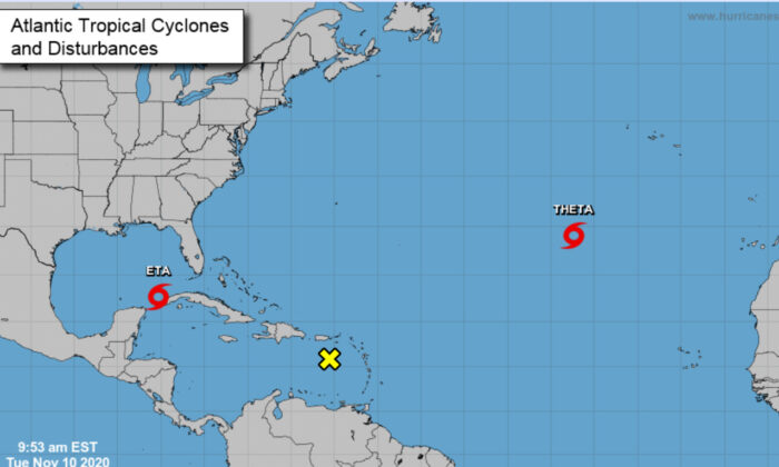 Forecasters say a record-breaking 29th named storm (Theta) has formed in the 2020 Atlantic hurricane season. (NHC)