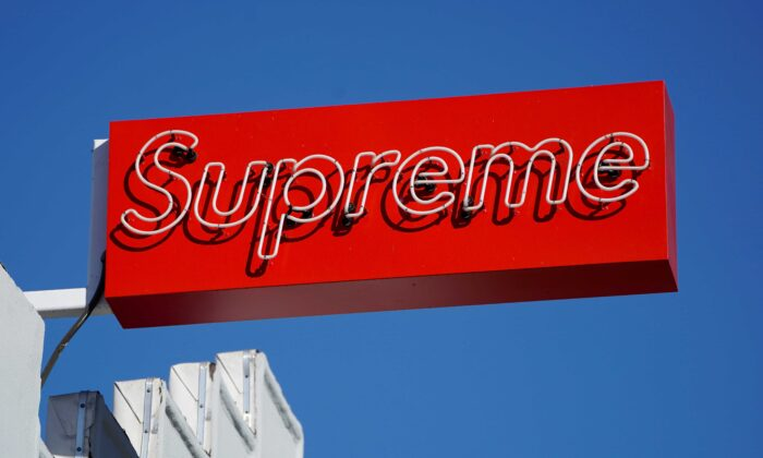 A Supreme clothing store sign on Fairfax in Los Angeles on Oct. 31, 2019. (Mike Blake/Reuters)