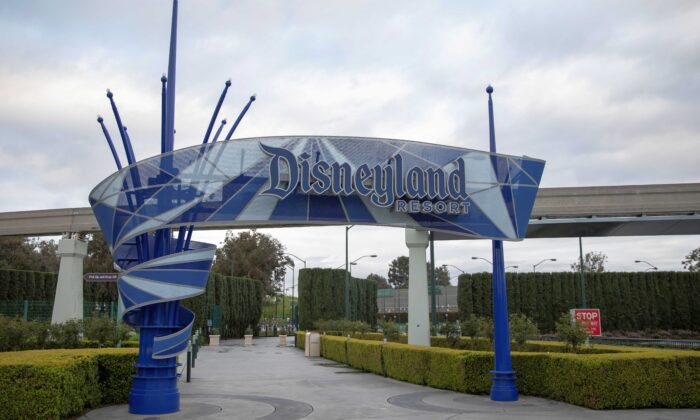 Walt Disney Co's Disneyland and California Adventure theme parks in Southern California are now closed due to the global outbreak of coronavirus in Anaheim, Calif., on March 14, 2020. (Mike Blake/Reuters)