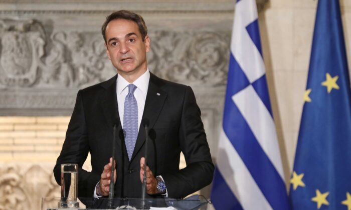 Greek Prime Minister Kyriakos Mitsotakis speaks during a joint news conference with Egyptian President Abdel Fattah al-Sisi at Maximos Mansion in Athens, Greece, on Nov. 11, 2020. (Costas Baltas/Reuters)