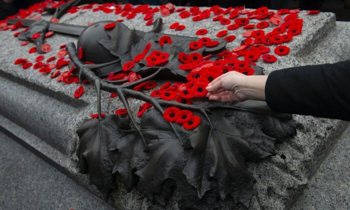 A poppy is placed on the Tomb of The Unknown Soldier following a Remembrance Day ceremony at the National War Memorial in Ottawa on Nov. 11, 2019. (THE CANADIAN PRESS/Sean Kilpatrick)